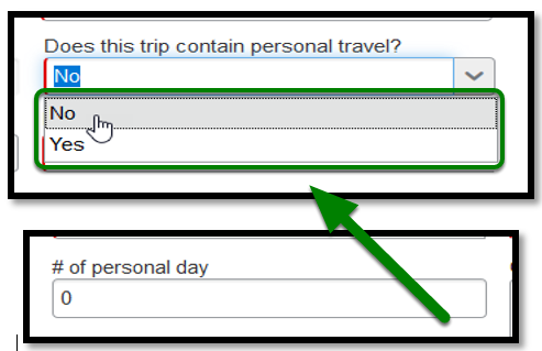 """""""Does this trip contain personal travel?"""" field. When clicked on, a drop-down emerges showing the options to select either no or yes. No has been selected. These two options are both highlighted in green, with an arrow pointing in their direction. # of personal day field. The number zero has been inputted."""