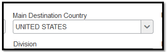 """Main Destination Country. In the text box, the """"United States"""" was inputted."""