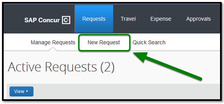 """Requests tab has been opened. The """"New Request"""" option has been highlighted, and there is a green arrow pointing towards it."""