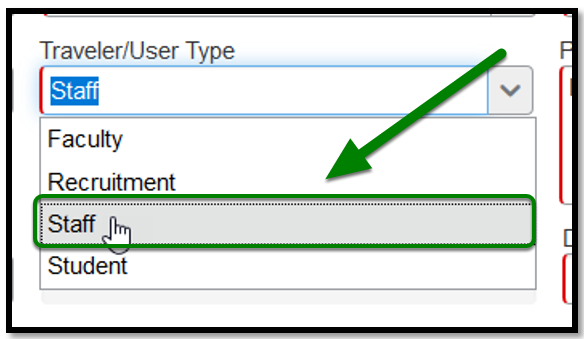 """Traveler/User Type field. When clicked on, the """"staff"""" option was selected. This option was highlighted, and there was a green arrow pointing towards it."""