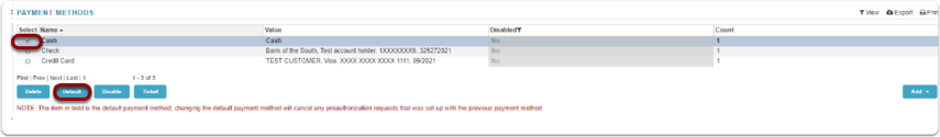 Default Payment Method Designation