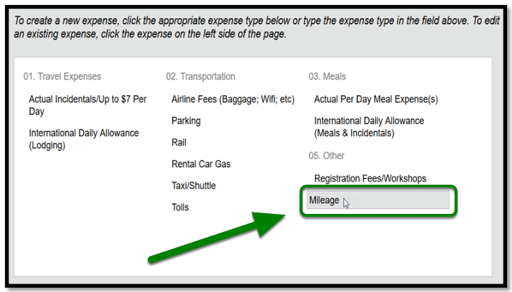 """In the expense type list, under """"Other,"""" there is a green arrow pointing towards the """"Mileage"""" option."""