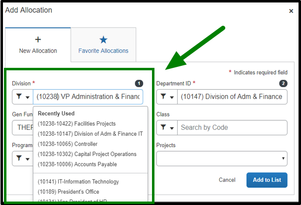 Under add allocation, the division field is clicked on. When clicked on, a drop down emerges and VP Administration & Finance is selected. There is a green arrow pointing towards the Division field.