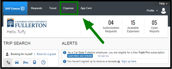 Concur portal. On the top, there is an expense tab. This tab is highlighted, and there is a green arrow pointing towards it.