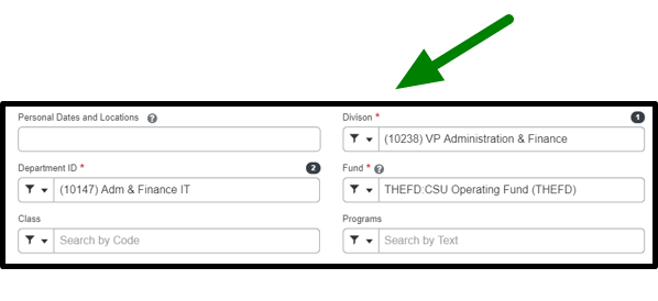 The report header has been opened. On the bottom, there are options to select the division, department id, fund, class, programs, and imported request id. This bottom area is focused, and there is a green arrow pointing towards it.
