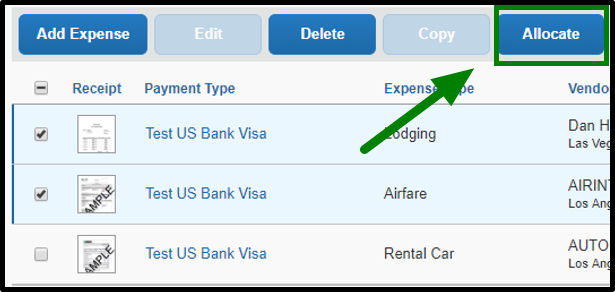 With the lodging and airfare expenses still selected, the allocate button on the top right-hand corner is selected, and there is a green arrow pointing towards it.