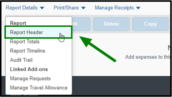 Report Details tab. When clicked on, it creates a drop-down that lists out the report header, totals, timeline, audit trail, and linked add-ons. The report header is selected, and there is a green arrow pointing towards it.