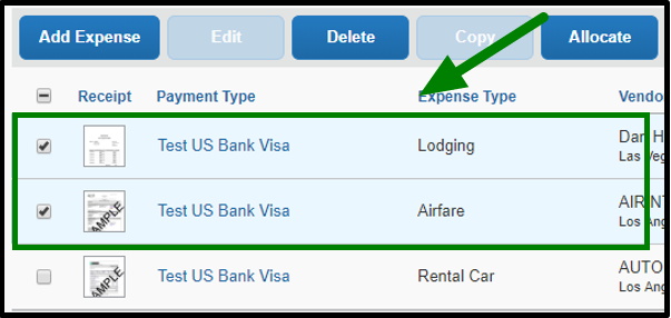 Both the lodging and airfare expenses are selected, and there is a green arrow pointing towards them.