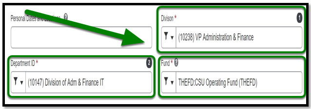 Division, department ID and fund fields are displayed.