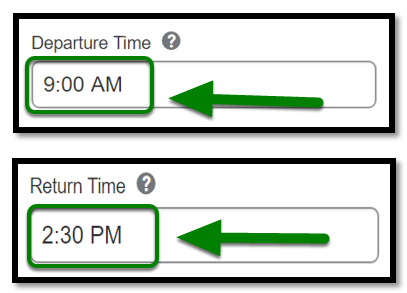 Personal Car Mileage Expense. Departure time and return time fields. Both fields have times inputted.