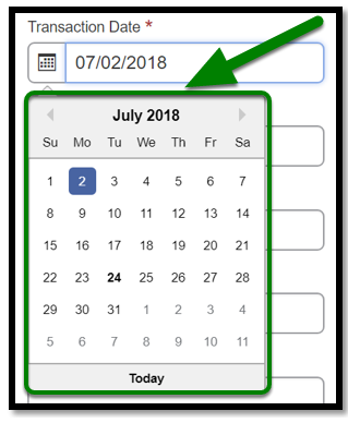 Transaction date field. A date is selected.