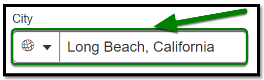 City Field. Long Beach, California is inputted.