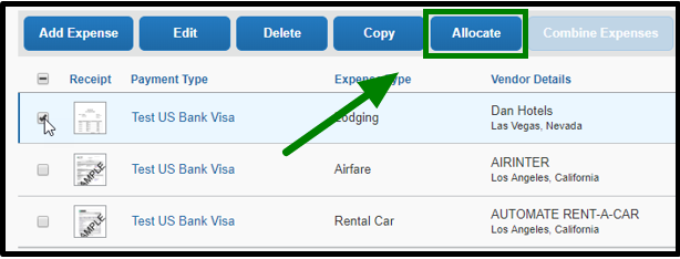 The lodging expense is still selected, and there is a green arrow pointing now towards the allocate button on the top left-hand corner.