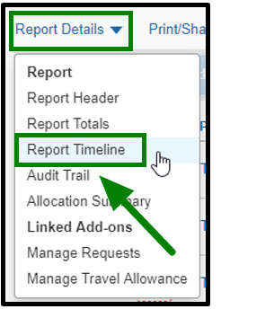 Under report details, a drop-down is displayed that shows the options to click on the report header, totals, timeline. audit trail, allocation summary, and linked add-ons. The Report Timeline