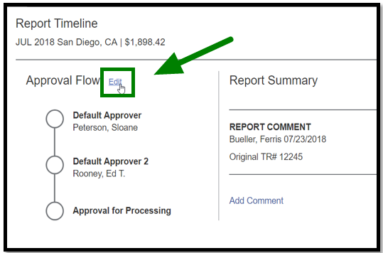 Under Report Timeline, the approval flow is shown. The option to Edit is selected, and there is a green arrow pointing towards it.