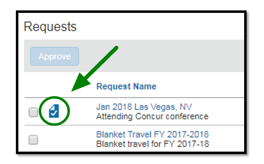 Green arrow pointing to checkmark listed next to a request that is ready to be reviewed.