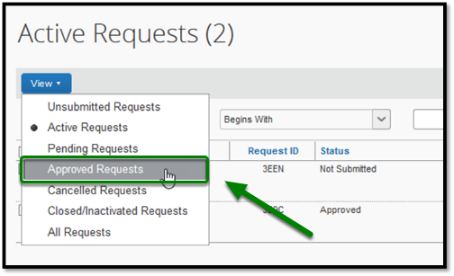 Active Requests window. The View option has been clicked on, and a drop-down has emerged. In the drop-down, the Approved Requests option has been selected, and there is a green arrow pointing towards it.