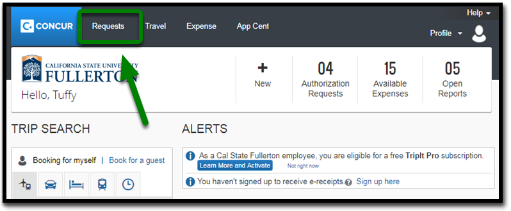 Concur Portal. There is a green arrow pointing towards the Request tab, located in the top left-hand corner.