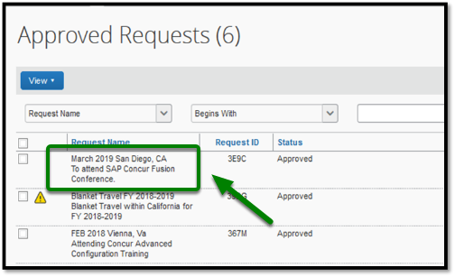 Approved Requests window. Under the Request Name, there is a request that is highlighted. This request is called the March 2019 San Diego, CA request, and there is a green arrow pointing towards it.