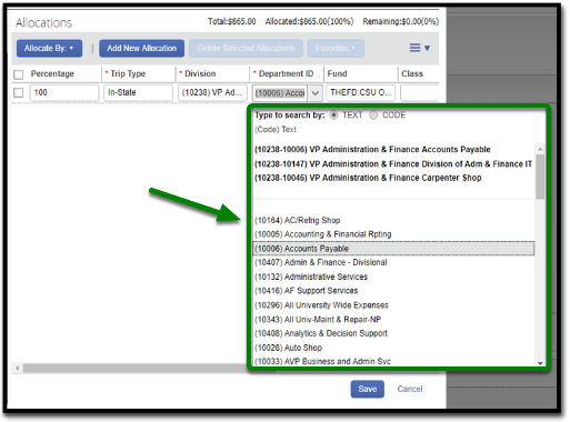 "In the allocations field, the department id field has been clicked on. A drop-down has emerged, and the ""Accounts payable"" option has been selected. It is highlighted, and there is a green arrow pointing towards it."