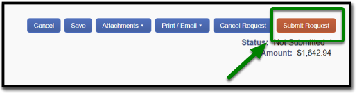 The submit request button on the right-hand side is highlighted.