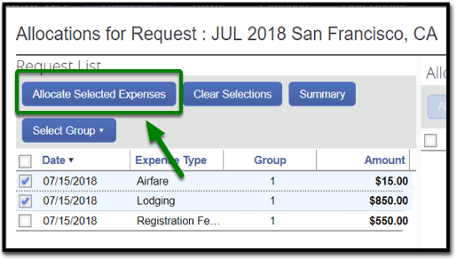 "In the allocations for request window, there is an option to click on ""allocate selected expenses"" on the left-hand side. This option is highlighted, and there is a green arrow pointing towards it."