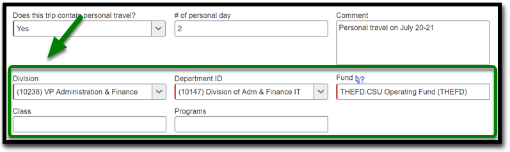 the Division, Department ID, Fund, Class, and Programs fields in the Request Header.