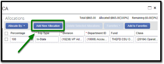 "In the allocations tab, there is an option to click on ""Add New Allocation in the left-hand side. This option is highlighted, and there is a green arrow pointing towards it."