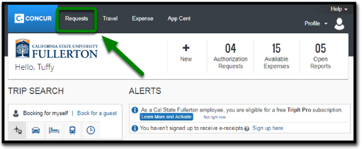Concur Portal. On the top left-hand corner, there is a Requests tab that is highlighted. There is also a green arrow pointing towards the Requests tab.