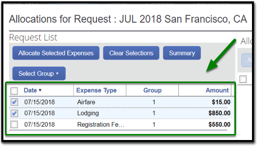 Allocations for request window. On the bottom, there are two expenses that have been highlighted. These two expenses are airfare and lodging.