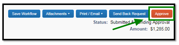 Arrow pointing towards Approve button link to approve request.