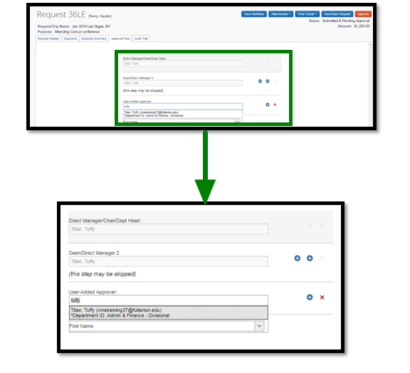 Drop-down menu with option to select employee.
