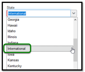 Required State field with dropdown menu.