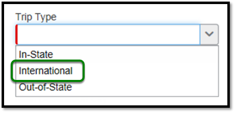 Dropdown menu with option to select trip type.