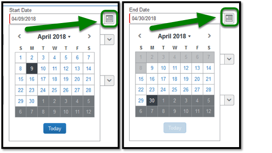 Calendar field provides the option to select dates.