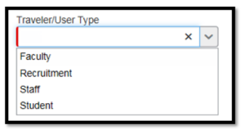 Required Traveler/User Type field with dropdown menu.