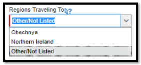 Fill in the Regions Traveling To, if applicable..