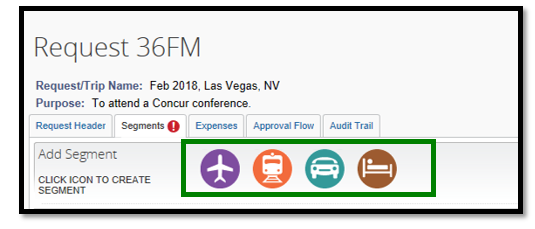 Segments tab has been opened. There are four icons displayed, each representing air travel, railroad, rental car, and lodging.