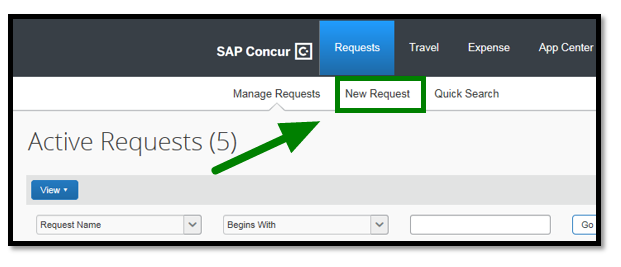 "Requests dashboard. Highlighted in green, there is a ""New Request,"" option located in the top. There is also a green arrow pointing towards it."