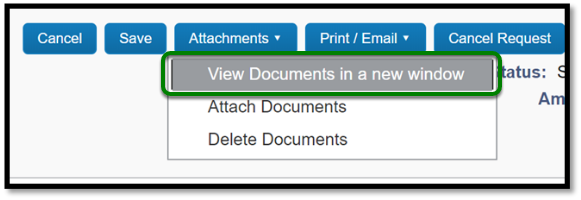 Green box highlighting option to View Documents in a new window under Attachments button.