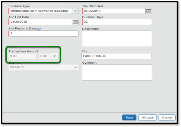 There are multiple required and optional fields shown under the international daily allowance expense type. The Transaction amount field is highlighted in green.