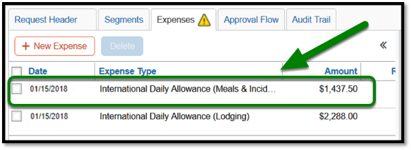 Expenses tab. Green box highlighting the International daily allowance expense.