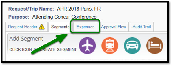 Expenses tab in the Request Header is highlighted in Green.