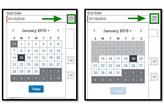 Start date and End date calendar option.