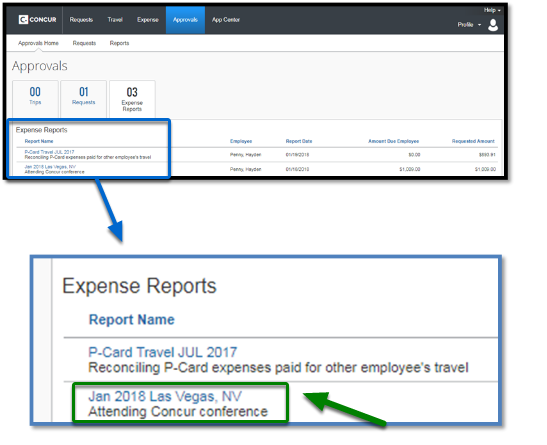 Approvals window. On the bottom, the expense reports region has been highlighted. The expense reports region has been zoomed-in, displaying two separate reports. Of the two reports, the an 2018 Las Vegas, NV report has been selected.