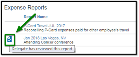 Next to the Jan 2018 Las Vegas, NV report, there is a paper symbol with a check. This symbol represents that a delegate has reviewed the report.