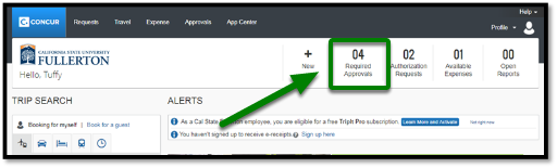 """Concur portal. On the right-hand side, there is an option to click on """"Required Approvals."""" This option is highlighted, and there is a green arrow pointing towards it."""