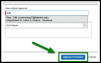 Under the comment field, there are two options. These options are to approve & forward, or cancel. The Approve & forward button is highlighted, and there is a green arrow pointing towards it.