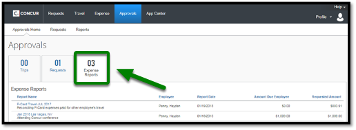"""Under the approvals window, there is an option to click on """"Expense Reports."""" This option is highlighted, and there is a green arrow pointing towards it."""