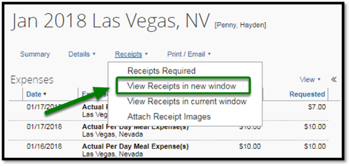 The JAN 2018 Las Vegas, NV report has been opened. When the receipts option has been clicked on, a drop-down shows the options to click on receipts required, view receipts in new window, view receipts in current window, and attach receipt images. The option to view receipts in new window is highlighted, and there is a green arrow pointing towards it.